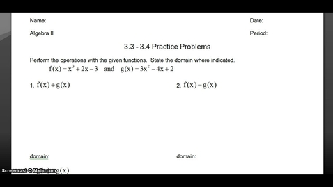 Thumbnail for entry Algebra 2: 3.3 - 3.4 Practice Key Problems