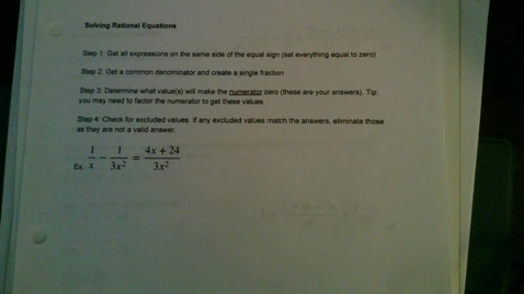 Thumbnail for entry Solving Rational Equations