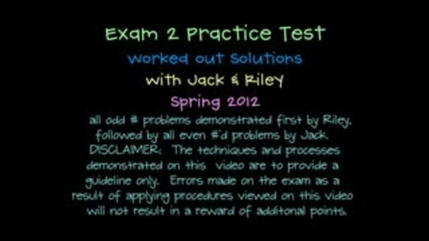Thumbnail for entry Trig Exam 2 Practice Worked Out Solutions Spr 2012