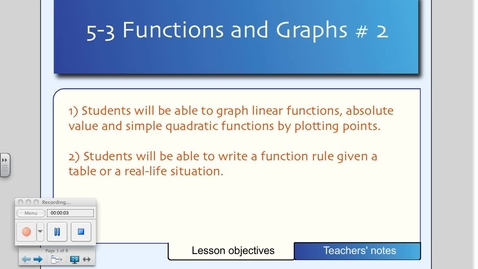 Thumbnail for entry 5-3 Graphing Functions (Day # 2)
