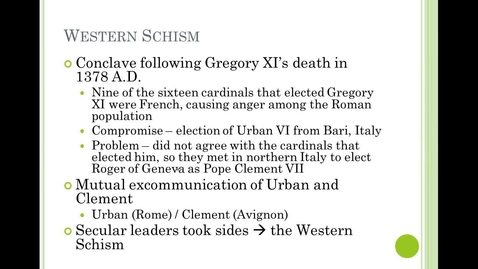 Thumbnail for entry Western Schism and 15th Century Spain