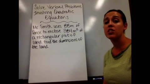 Thumbnail for entry Alg I - Sect 10-4 Solve Verbal Problems with Quadratic Equations