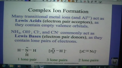 Thumbnail for entry Acids and Bases 14 - Complex Ion Formation