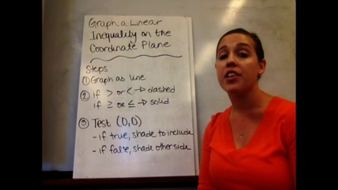 Thumbnail for entry Alg I - Sect 5-7 Graph Linear Inequality on Coordinate Plane