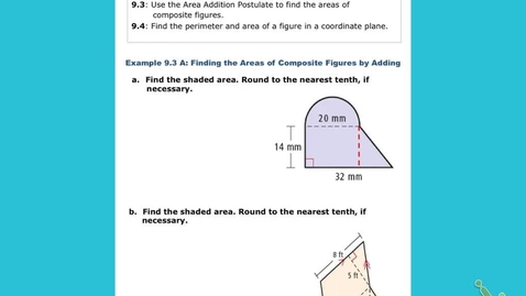 "Thumbnail for entry GeoB Lesson 9:3 ""Area & Perimeter of Composite Figures, and Figures in the Coordinate Plane"""