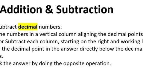 Thumbnail for entry 1-5 Decimal Operations