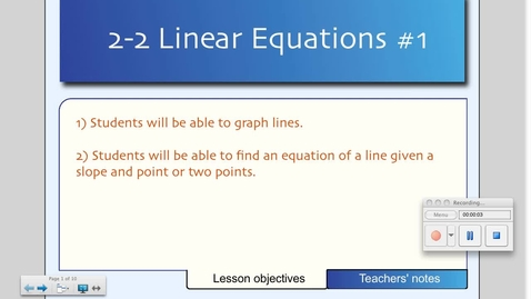Thumbnail for entry 2-2 Linear Equations (Day # 1)