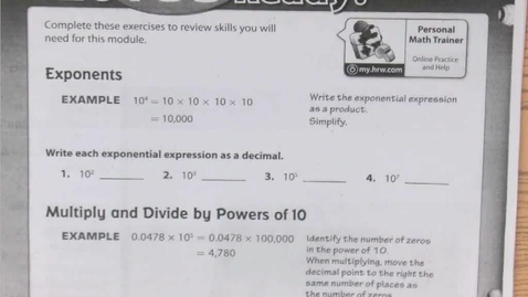Thumbnail for entry 2.1c Exponent Rules for Larger Expressions and 2.2 Scientific Notation with Positive Exponents