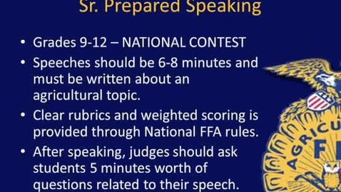 Thumbnail for entry NY FFA's Sr. Prepared Speaking CDE - Overview