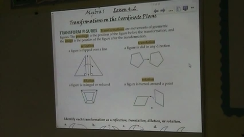 Thumbnail for entry Alg Lesson 4-2 Transformations on the Coordinate Plane Part 1