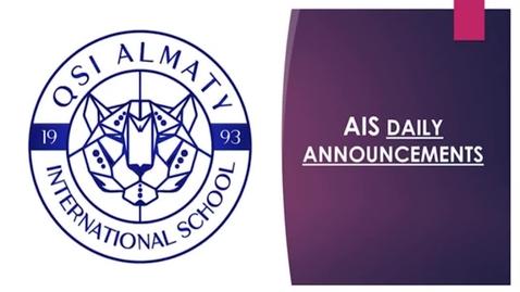 Thumbnail for entry QSI AIS Thursday, April 23 announcements