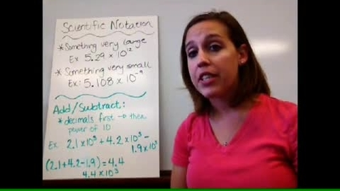 Thumbnail for entry Algebra I - Sect 1-7 Scientific Notation