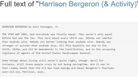 Thumbnail for entry Harrison Bergeron