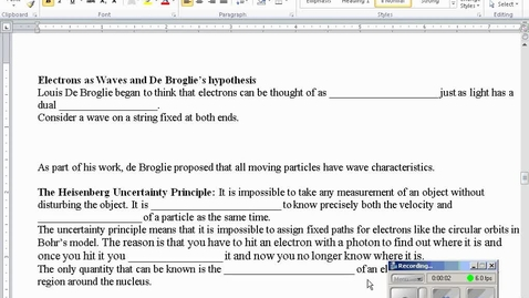 Thumbnail for entry Stephens Chemistry: Electrons as waves, sublevels, etc.