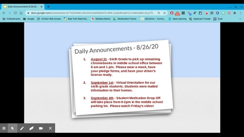 Thumbnail for entry VCMS Daily Announcements  8/26/20