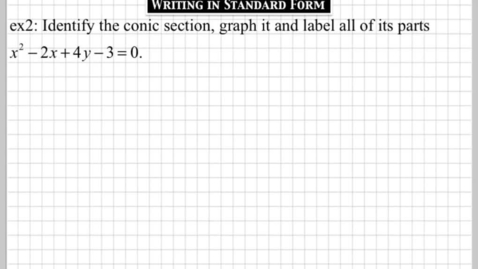 Thumbnail for entry How do you write a conic section in standard form? part2