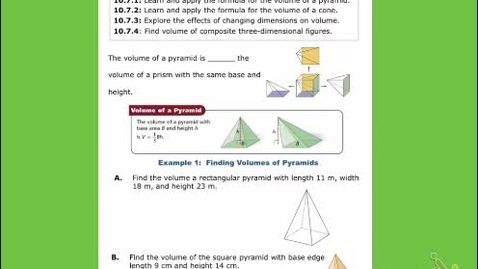 "Thumbnail for entry GeoB Lesson 10:7  ""Volume of Pyramids and Cones"""