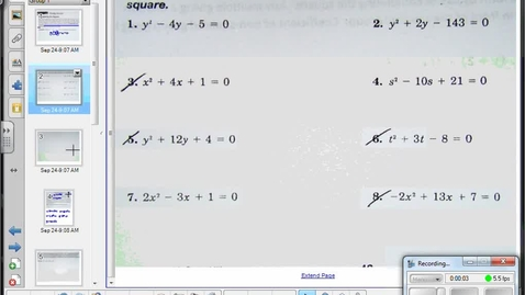 Thumbnail for entry Completing the square and vertex form of a quadratic pt 2   9-29-14