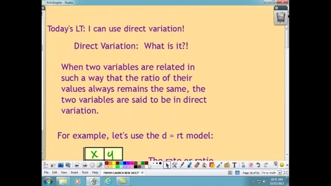 Thumbnail for entry DIRECT VARIATION:  What is it?