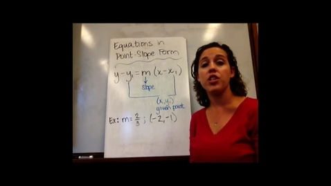 Thumbnail for entry Alg I - Sect 5-4 Equations in Point-Slope Form