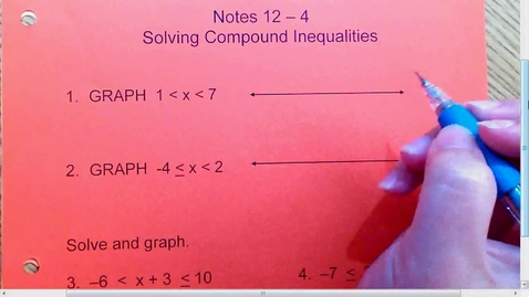 Thumbnail for entry 12.4 Compound Inequalities