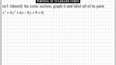 Thumbnail for entry How do you write a conic section in standard form? part3