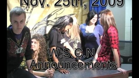 Thumbnail for entry WSCN Update (Nov. 25, 2009)
