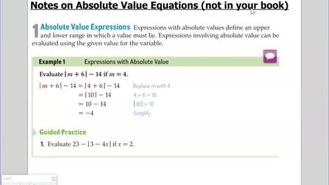 Thumbnail for entry Absolute Value NOTES