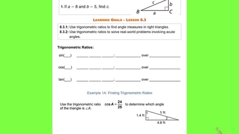 """Thumbnail for entry GeoB Lesson 8:3  """"Solving Right Triangles"""""""