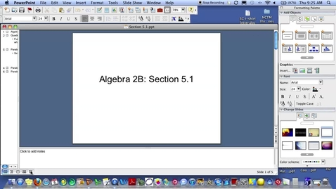 Thumbnail for entry Algebra 2B Section 5.1