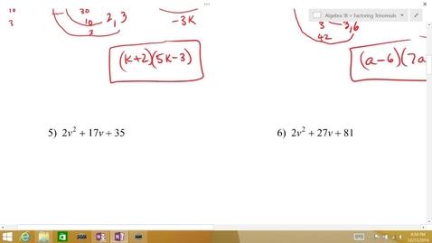 Thumbnail for entry Algebra 1B Lesson 08 #5-6