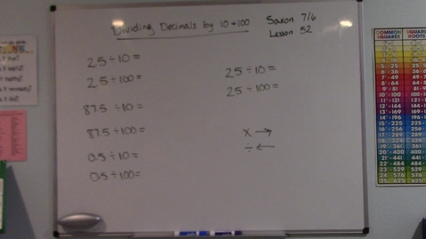 Thumbnail for entry Saxon 7/6 - Lesson 52 - Dividing Decimals by 10 and 100
