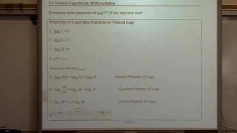 Thumbnail for entry Calculus Section 5-1 Differentiation of Logs
