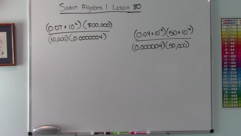 Thumbnail for entry Saxon Algebra 1 - Lesson  80 - Operations with Scientific Notation
