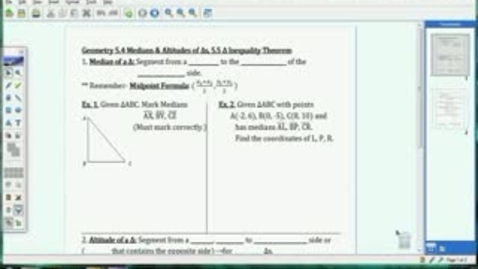 Thumbnail for entry 5.4-5.5 Medians, Altitudes, Triangle Inequality Thm.