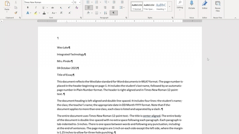 Thumbnail for entry How to Apply the Westlake Middle School Format for Documents