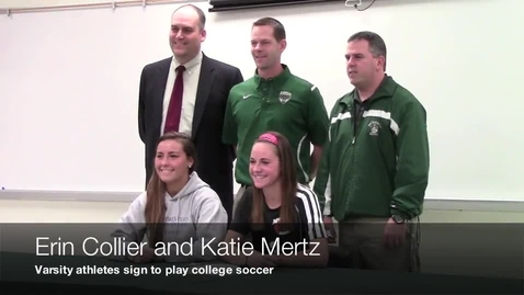 Thumbnail for entry Varsity athletes sign letters to play college soccer