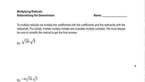 Thumbnail for entry Multiplying:Dividing Radicals and Complex Numbers