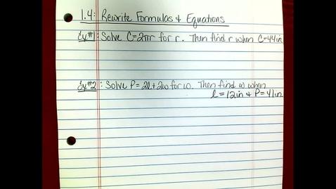 Thumbnail for entry Pre-AP Alg 2 Lesson 1.4