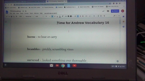 Thumbnail for entry Sixteenth Vocabulary Sheet for Time for Andrew by Mary Downing Hahn