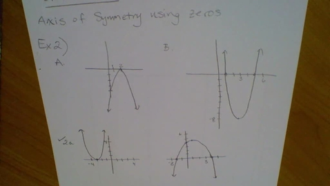 Thumbnail for entry Axis of Symmmetry & Vertex of Parabolas (8.2 part 2)