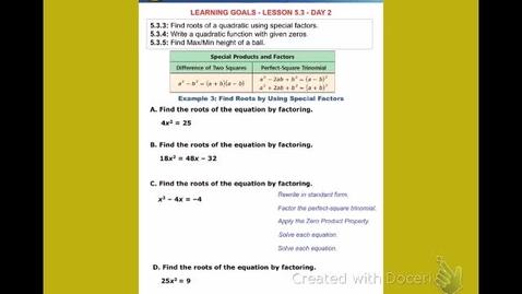 "Thumbnail for entry Alg2B Lesson 5:3 ""Solving Quadratic Functions - Part 2"""