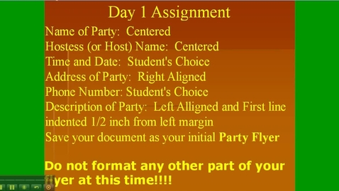 Thumbnail for entry Formating Day 1 - Assignment