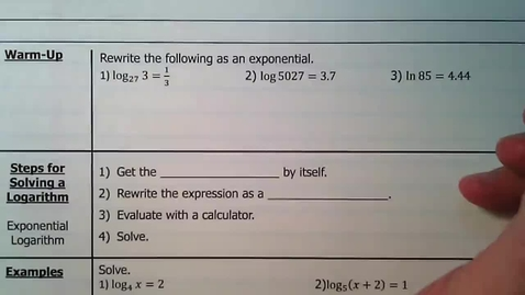Thumbnail for entry 03 - Guided Notes - Solving Logarithmic Equations