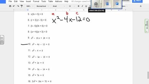 Thumbnail for entry Quadratics:  Finding zeroes algebraically example 10