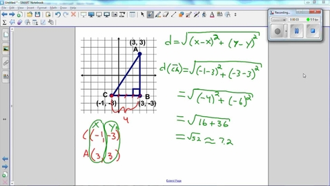 Thumbnail for entry Triangles on a Coordinate Grid, Find the perimeter of a triangle -Q5