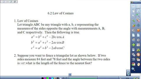 Thumbnail for entry Law of Cosines Lesson