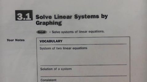 Thumbnail for entry Alg 2 Sec 3.1 Graph Linear Systems of Equations