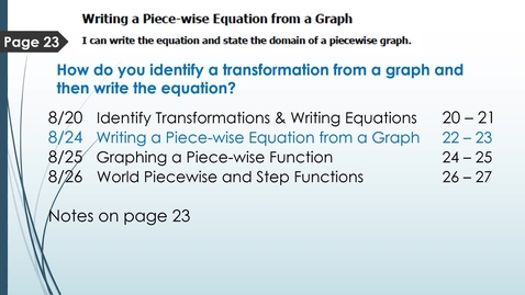 Thumbnail for entry VIDEO 1.3 Day 1 Writing a Piece-wise Equation from a Graph