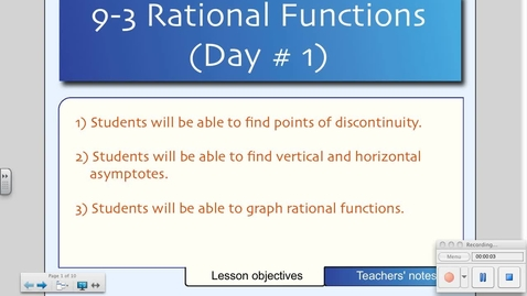 Thumbnail for entry 9-3 Rational Functions and their Graphs